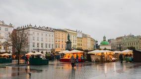 Het hoofdvierkant van Krakau stock foto