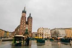 Het hoofdvierkant van Krakau stock foto's