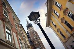 Het hoofdvierkant van Krakau, Polen Stock Foto