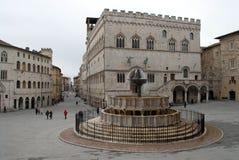Het HoofdVierkant van Perugia, Umbrië - Italië royalty-vrije stock afbeelding