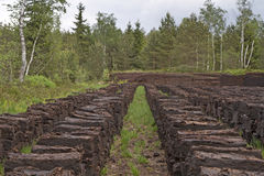 Het hoogland legt met turf gravende plaats vast Royalty-vrije Stock Foto