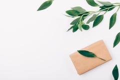Het hoogste decoratieve kader van de meningshoek van groen en vakje dat in bruin ecodocument wordt verpakt, exemplaarruimte Vlak  royalty-vrije stock foto's
