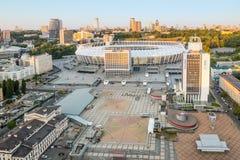 Het het hoogste stadion en vierkant van de meningsvoetbal in Kiev Nationale Sporten Complexe Olympysky Kiev, Wit Groot Stadion me stock afbeelding