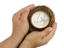 Het hoogste van het de holdingsnest van de menings mannelijke hand euro geïsoleerde muntstuk Stock Foto