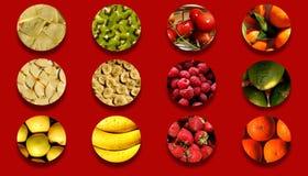 Het hoogtepunt van cirkelvormen van diverse fruitige texturen Royalty-vrije Stock Afbeelding