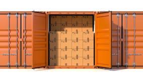 Het hoogtepunt van het de container zijaanzicht van de schiplading met kartondozen vector illustratie