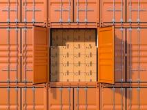 Het hoogtepunt van het de container zijaanzicht van de schiplading met kartondozen stock illustratie