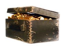 Het hoogtepunt van de doos van geld stock foto's