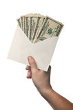 Het hoogtepunt van de envelop van geld Stock Foto