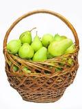 Het hoogtepunt van de mand van peren Stock Afbeelding