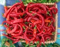 Het hoogtepunt van de mand van Spaanse pepers Stock Foto