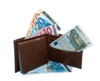 Het hoogtepunt van de portefeuille van Euro geld stock afbeeldingen