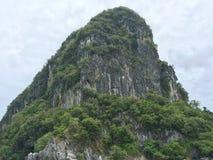 Het hoogtepunt van de rotsberg door groene bomen wordt behandeld die Royalty-vrije Stock Afbeelding