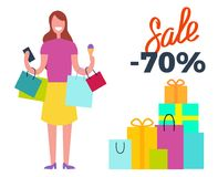 Het Hoogtepunt van de verkoop -70 Vrouw van Joy Vector Illustration royalty-vrije illustratie