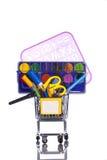 Het winkelen schoolmateriaal Stock Foto