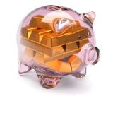Het hoogtepunt van het spaarvarken van goudstaven op wit Stock Afbeelding