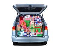 Het hoogtepunt van Minivan van Kerstmis stelt voor royalty-vrije stock afbeelding