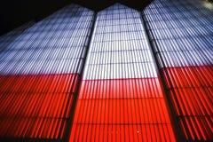 Het hoogtepuntgebouw is rood in wit ter gelegenheid van 10 royalty-vrije stock afbeeldingen