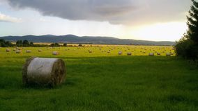 Het hooi rolt gebied in zonsondergang 1/2 stock fotografie