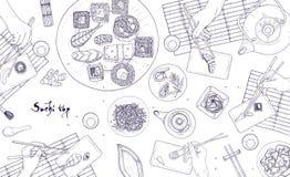 Het horizontale malplaatje van de Webbanner met handen die Japanse die sushi, sashimi en broodjes met eetstokjes houden met conto stock illustratie