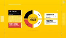 Het horizontale malplaatje van pasteiinfographics met vier segmenten in kleurrijke hi-tech stijl Stock Afbeeldingen