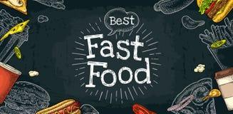 Het horizontale menu van het affiche snelle voedsel Vector witte gravure op zwarte Royalty-vrije Stock Foto