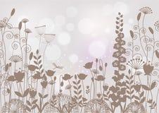 Het horizontale naadloze patroon silhouetteert donkere kleuren op lichte B Royalty-vrije Illustratie