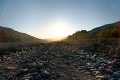 Het horizontale schot van steen stoffige weg in een droge vallei op een achtergrond van struiken stock fotografie