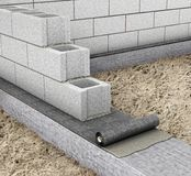 Het horizontale waterdicht maken wanneer het bouw van een huis het waterdicht maken op de bovenkant van de stichting 3d Stock Foto's
