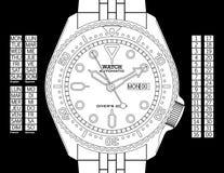 Het Horloge van de duiker - Zwarte & Wit Royalty-vrije Stock Afbeeldingen