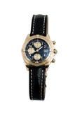 Het horloge van de luxe, zwart leer en goud Stock Foto's