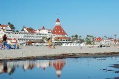 Het Hotel en het strand van Coronado stock foto