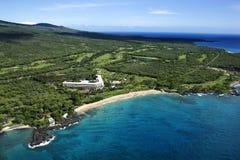 Het hotel van Beachfront in Maui stock afbeeldingen