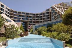 Het Hotel van de luxetoevlucht met zwembad in Belek, Turkije stock foto's