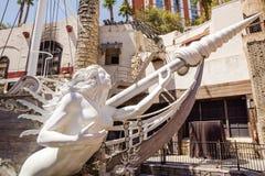 Het Hotel van het schateiland en het Schip van de Casinopiraat Stock Foto's