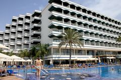 Het hotel van het strand in Maspalomas, kan Stock Afbeelding
