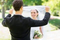 Het houden van bruidegom van opheffende sluier van bruid Stock Afbeelding