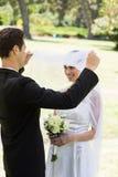Het houden van bruidegom van opheffende sluier van bruid Royalty-vrije Stock Afbeeldingen
