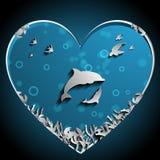 Het houden van van Dolfijnen onder de overzeese papercut vector, het kunstwerk Aard en Oceaanconcept Dolfijnthema Royalty-vrije Stock Afbeelding
