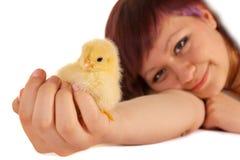 Het houden van een Pasen kuiken Stock Foto's