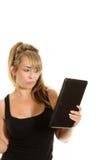 Het houden van een tabletcomputer Stock Foto