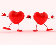 Het houden van Handen toont Valentijnskaartendag en Hartelijk stock illustratie