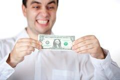 Het houden van/het Uitrekken van de dollar Royalty-vrije Stock Foto's