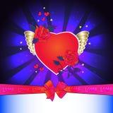 Het houden van van hart op de vleugels met rozen Royalty-vrije Stock Fotografie