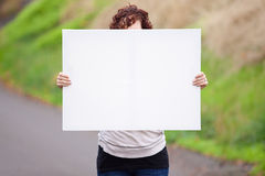 Het houden van Wit Teken royalty-vrije stock afbeeldingen
