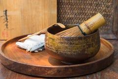 Het hout borstelde groene thee Stock Afbeeldingen