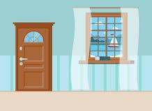 Het hout sloot ingangsdeur, boek en venster met de zomermening van overzees landschap met zeilboot vector illustratie