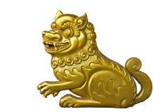 Het hout van de leeuw snijdt gouden verf Stock Foto