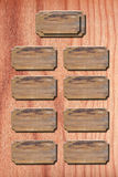Het hout van het menu op houten muur royalty-vrije stock fotografie