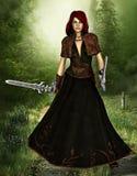 Het hout vecht priestess in een mooi landschap Stock Foto's